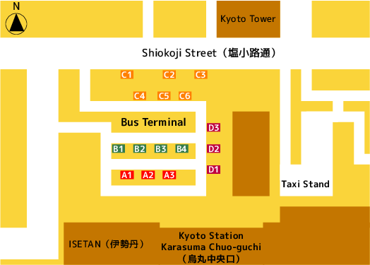 Map of Kyoto Station Karasuma Chuo-guchi (烏丸中央口)